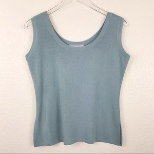 Exclusively Misook petites knit tank top teal